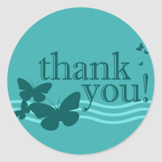 thank you seal : butterflies : round sticker