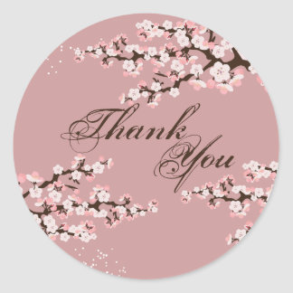 Thank You Seal - Dusty Rose Cherry Blossom Wedding