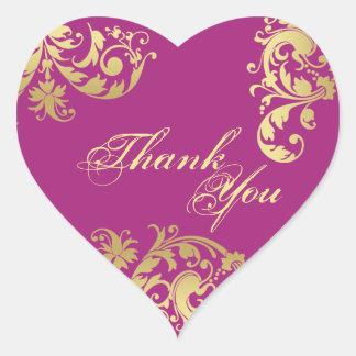Thank You Seal - Fuschia & Gold Floral Wedding