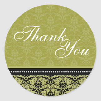 Thank You Seal - Green Elegant Damask Wedding Round Sticker