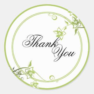 Thank You Seal - Green & White Floral Wedding Sticker