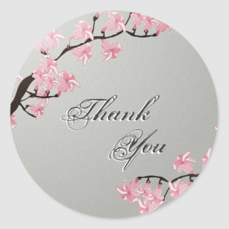 Thank You Seal Grey Pink Cherry Blossom Wedding