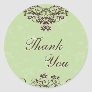 Thank You Seal - Mint Green & Chocolate Brown Round Sticker
