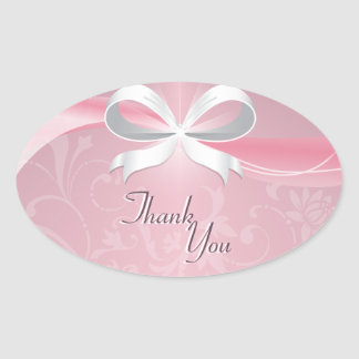 Thank You Seal Pink & White Floral Ribbon Wedding Oval Sticker