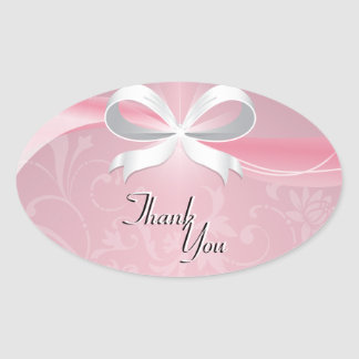 Thank You Seal Pink & White Floral Ribbon Wedding Oval Stickers