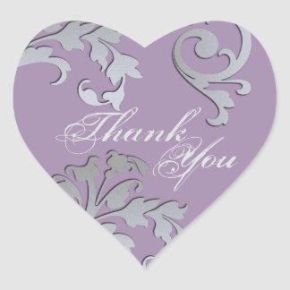 Thank You Seal - Purple & Silver Floral Wedding