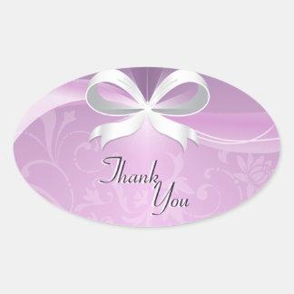 Thank You Seal Purple White Floral Ribbon Wedding Oval Sticker