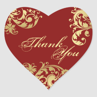 Thank You Seal - Red & Gold Floral Wedding