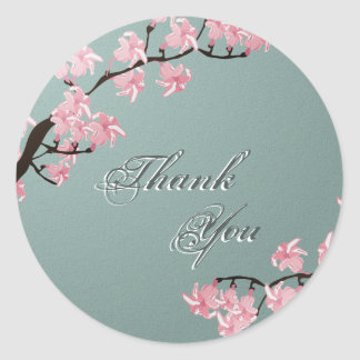 Thank You Seal Teal Pink Cherry Blossom Wedding