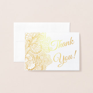Thank You Sentiments Foil Lacy Filigree Foil Card