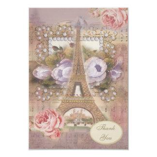 Thank You Shabby Chic Eiffel Tower Wedding 9 Cm X 13 Cm Invitation Card