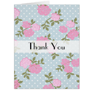 Thank You - Shabby Chic Polka Dots, Roses - Blue Greeting Card
