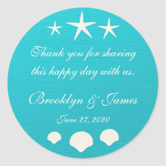 Thank You Shells On Beach Wedding Stickers Stickers
