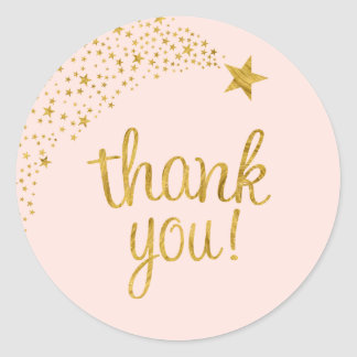 Thank You Shooting Star Pink Gold Baby Shower Round Sticker