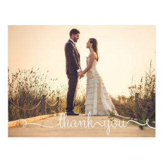 Thank You, Simple Script Wedding Postcard