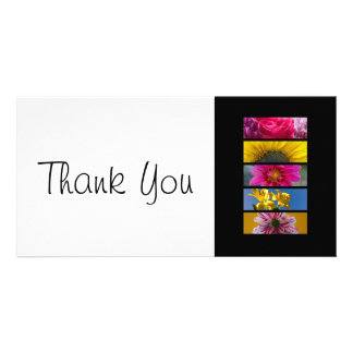 Thank You slim Card - Pink & Yellow Macro Flowers