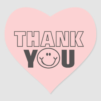 Thank You Smiley Face Pink Heart Sticker Label