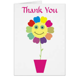 Thank You Smiley Face Sunflower Greeting Card