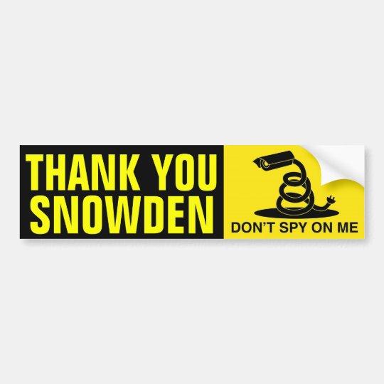 Thank You Snowden Bumper Sticker