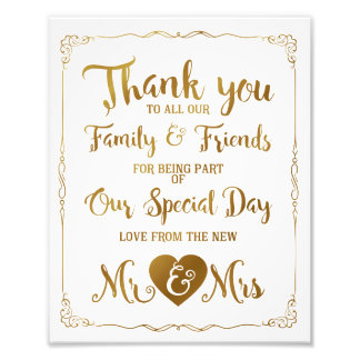 thank you special day wedding sign gold
