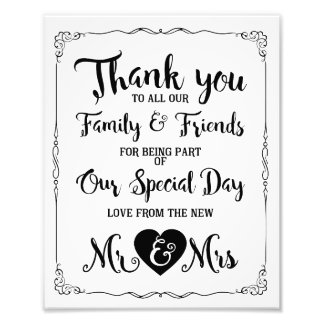 thank you special day wedding sign photo art