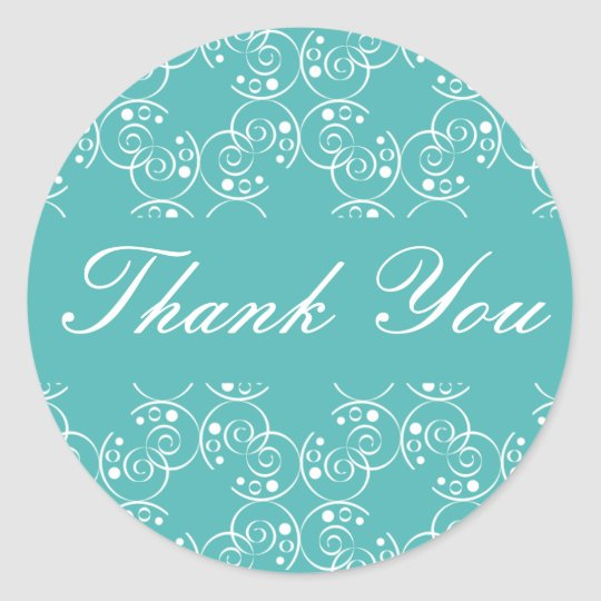 Thank You Spiral Swirls Envelope Sticker Seal