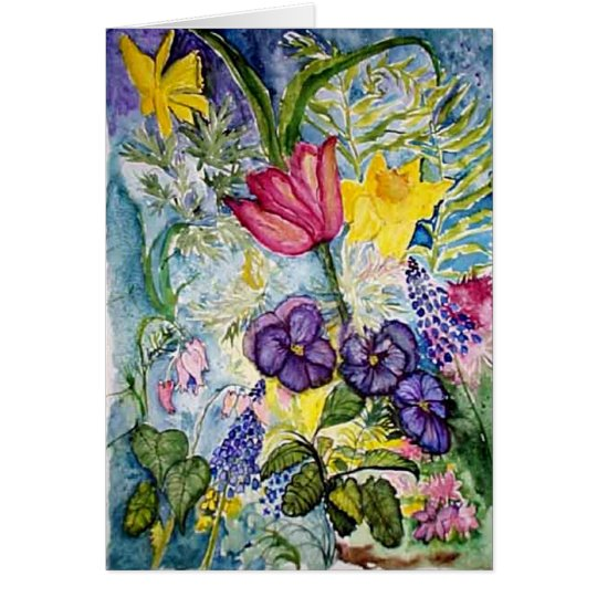 Thank you  -  spring flowers watercolor card