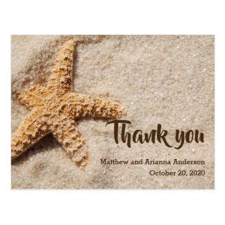 Thank you starfish on sand postcard
