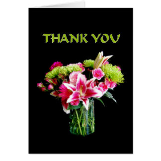 Thank You, Stargazer Lily Bouquet Card