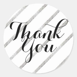Thank You Sticker Faux Silver Leaf Diagonal Black