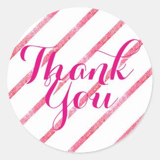 Thank You Sticker Faux Silver Leaf Diagonal Pink
