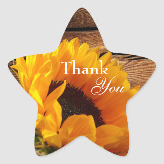 Thank You Stickers, Rustic Country Fall Sunflower