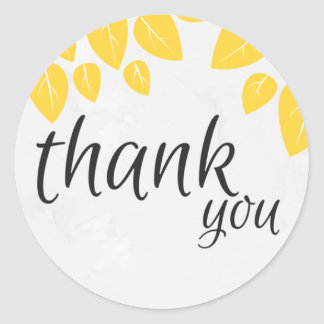 Thank you stickers with yellow leaves