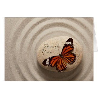 Thank You Stone in a Zen Garden With Butterfly Greeting Card