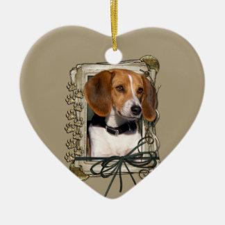 Thank You - Stone Paws - Beagle Ceramic Heart Decoration