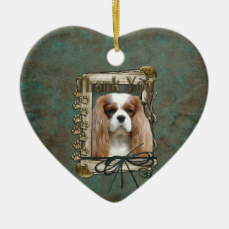 Thank You - Stone Paws - Cavalier Ceramic Heart Decoration
