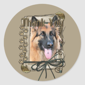 Thank You - Stone Paws - German Shepherd - Chance Round Stickers