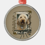 Thank You - Stone Paws - GoldenDoodle Silver-Colored Round Decoration