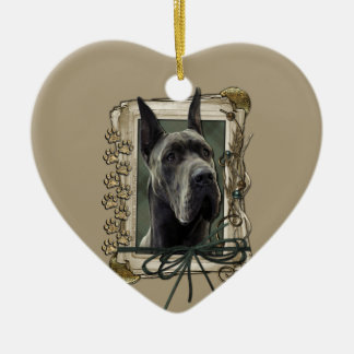 Thank You - Stone Paws - Great Dane - Grey Christmas Ornament