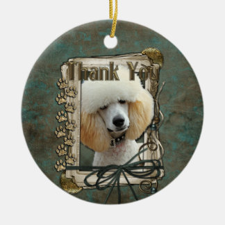 Thank You - Stone Paws - Poodle - Apricot Christmas Ornament