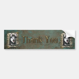 Thank You - Stone Paws - Siberian Husky Bumper Stickers