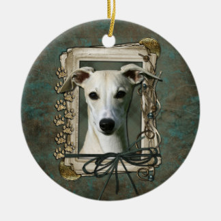 Thank You - Stone Paws - Whippet Round Ceramic Decoration