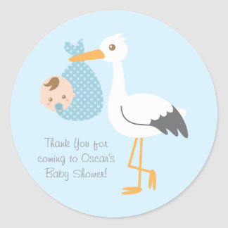 Thank You Stork Delivers Cute Baby Boy Classic Round Sticker