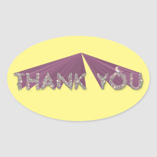 Thank You Stretched Floral Oval Sticker