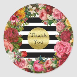Thank You Stripes Roses Flowers Gold Glitter Trend Round Sticker