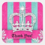 Thank You Stripes Sticker Jewellery Pink Crown Blu