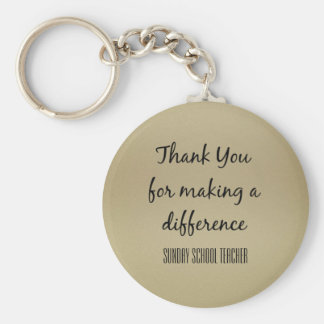 Thank You Sunday School Teacher Basic Round Button Key Ring