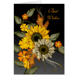 Thank you Sunflower Floral Best Wishes Birthday Note Card