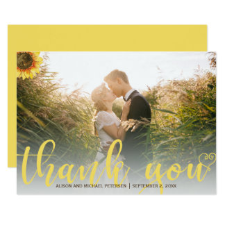 Thank you sunflower rustic wedding photo card