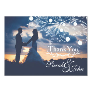 Thank You - Sunset Couple with White Floral Card